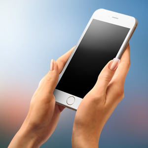 iPhone mockup both hands messaging sms