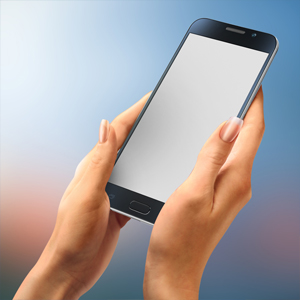 Galaxy mockup both hands messaging sms